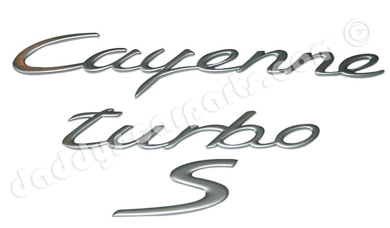 cayenne turbo s schriftzug silber f u00dcr porsche 955 957